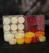 Teelichter farbig mit transparenter Hülle